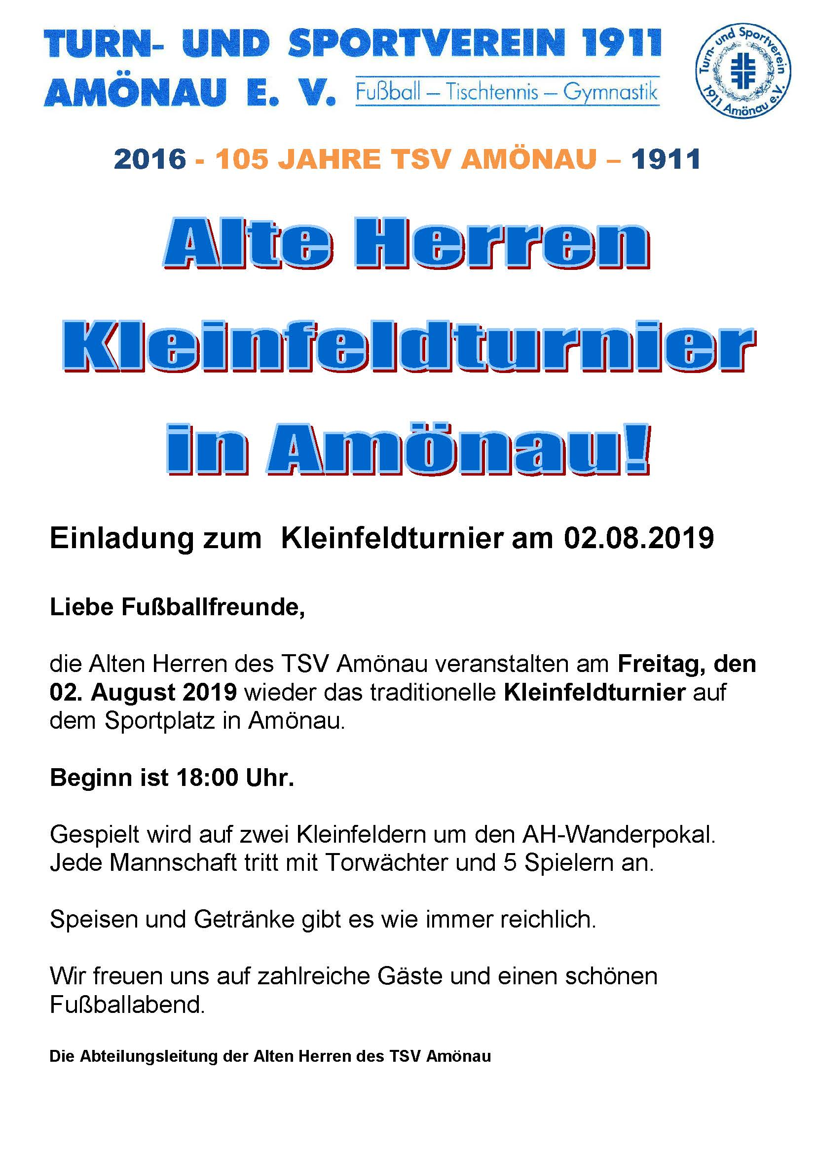 Kleinfeldturnier der AH des TSV Amönau am 02.08.2019