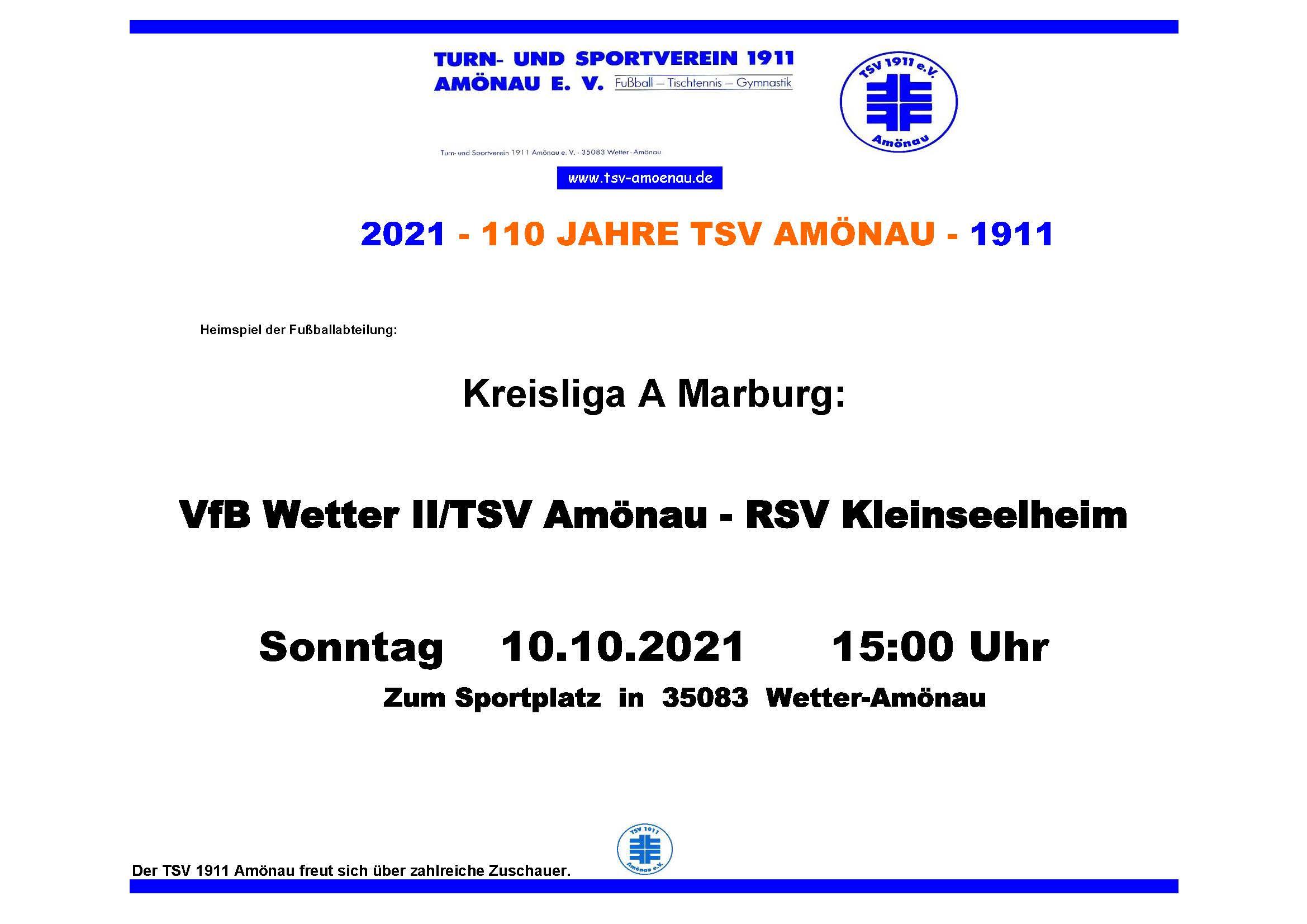 Plakat_Heimspiel_RSV Kleinseelheim _Kreisliga_A_Marburg